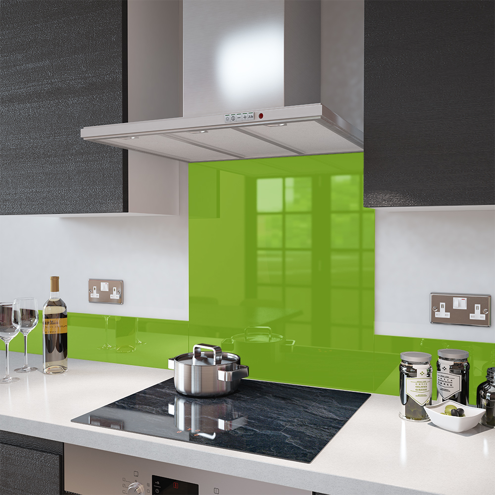 Lime kitchen splashback for hob